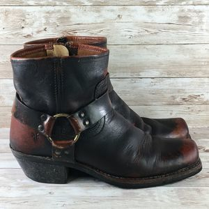 Frye Smith Harness Leather Motorcycle Short Boot
